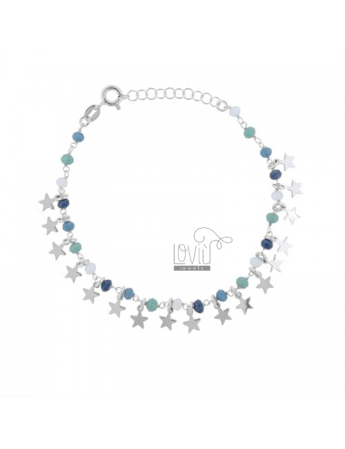 BRACELET WITH STARS AND STONES IN RHODIUM SILVER TIT 925 ‰ CM 17-19