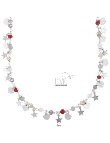 NECKLACE WITH HEARTS, STARS AND STONES IN RHODIUM SILVER TIT 925 ‰ CM 40-45