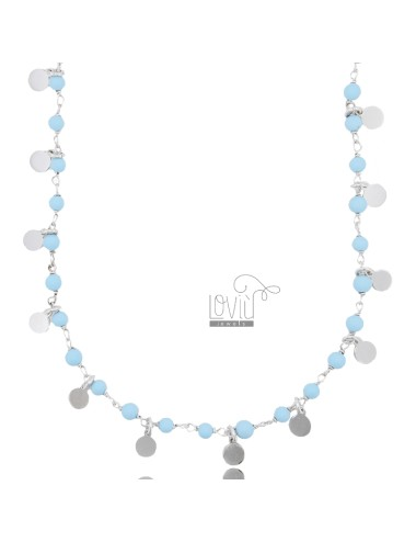 NECKLACE WITH DISKETS AND STONES IN RHODIUM SILVER TIT 925 ‰ CM 40-45