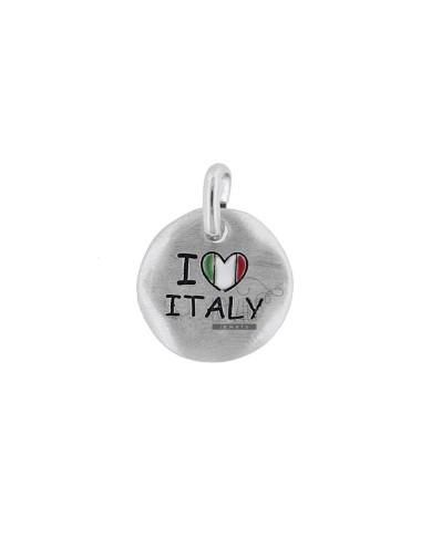 CIONDOLO TONDO MM 18 I LOVE ITALY IN ARG. RODIATO TIT 925 E SMALTO