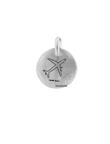 PENDANT 18 MM ROUND WORLD AND PLANE IN SILVER RHODIUM TIT 925 AND ENAMEL