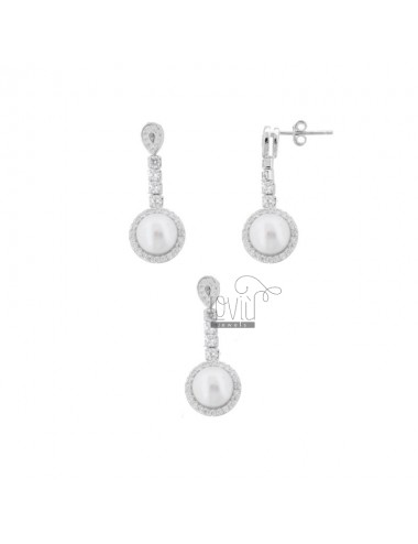 PARURE EARRINGS AND CHARM WITH PEARLS AND ZIRCONIA IN RHODIUM SILVER TIT 925 ‰