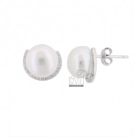 LOBO EARRINGS WITH PEARL AND ZIRCONIA IN RHODIUM SILVER TIT 925 ‰