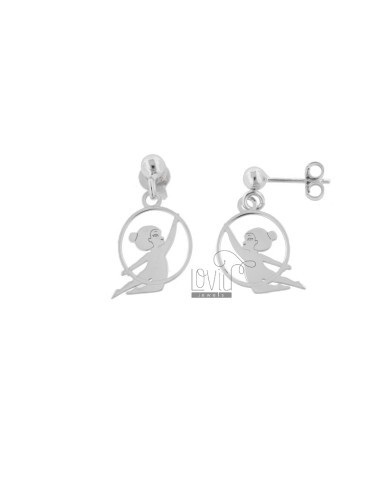 18X13 MM BALLERINA EARRINGS IN SILVER RHODIUM TIT 925 AND GLITTER
