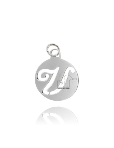 PENDANT ROUND 32 MM WITH LETTER U PERFORATED IN AG TIT 925 ‰ RHODIUM.
