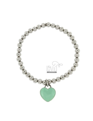 BRACELET SPRING BALL 5 MM WITH A HEART Hang MM 16x15 A PLATE WITH GREEN GLAZE TIFFANY IN AG TIT 925 RHODIUM
