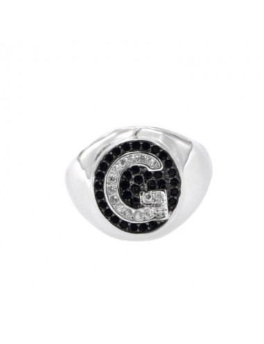 PINKY RING LETTER G WITH ZIRCONIA WHITE AND BLACKS IN SILVER RHODIUM TIT 925 ‰ MIS ADJUSTABLE 1O