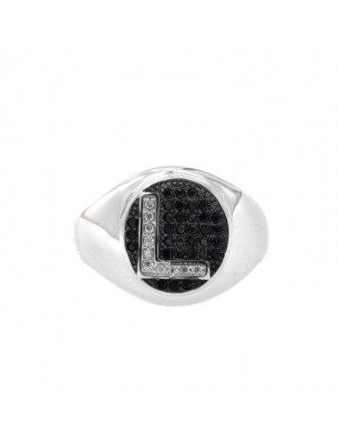PINKY RING LETTER L WITH ZIRCONIA WHITE AND BLACKS IN SILVER RHODIUM TIT 925 ‰ MIS ADJUSTABLE 10