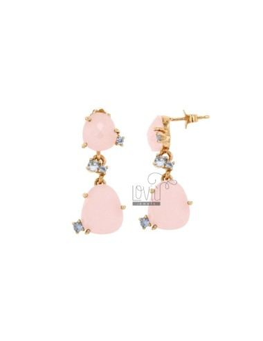 EARRINGS WITH HYDROPHORETICAL STONES DOUBLE SASSO ROSA 11 WITH SIDE DOORS ZUCCHERO PAPER 28 IN AG PLATED GOLD ROSE TIT 925 ‰