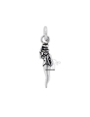 HORN CHARM GOBBO WITH HORSESHOE MM 28 SILVER microcast BRUNITO TIT 800 ‰