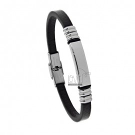 BRACELET WITH PLATE 8 MM IN STEEL AND LEATHER DARK HEAD CM 21