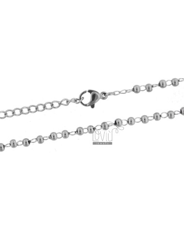 Ball necklace mm 3 in steel...