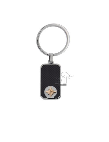 RECTANGULAR KEY RING WITH ROSE OF THE WINDS IN TWO-COLORED STEEL AND CARBON FIBER