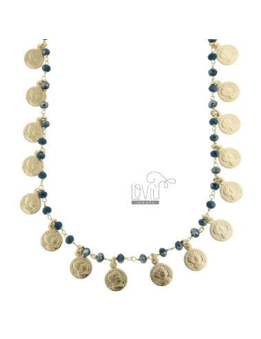 NECKLACE WITH COINS AND STONES IN GOLDEN SILVER TIT 925 ‰ CM 38-42