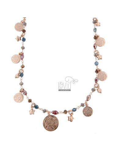 NECKLACE WITH COINS, STARS AND STONES IN SILVER ROSE TIT 925 ‰ CM 40