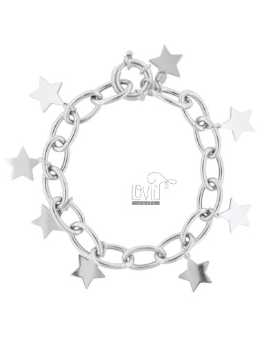 CABLE BRACELET WITH STARS IN SILVER RHODIUM TIT 925 ‰ CM 18-20
