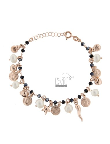 BRACELET WITH COINS, STARS, CHARMS, STONES AND PEARLS SILVER ROSE TIT 925 ‰ CM 17-20