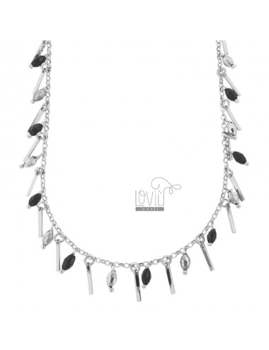 NECKLACE WITH MATCHES AND PENDING STONES IN RHODIUM SILVER TIT 925 ‰ CM 38-42