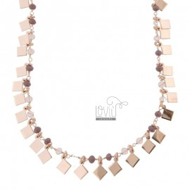 NECKLACE WITH SQUARES AND PENDING STONES IN SILVER ROSE TIT 925 ‰ CM 38-42