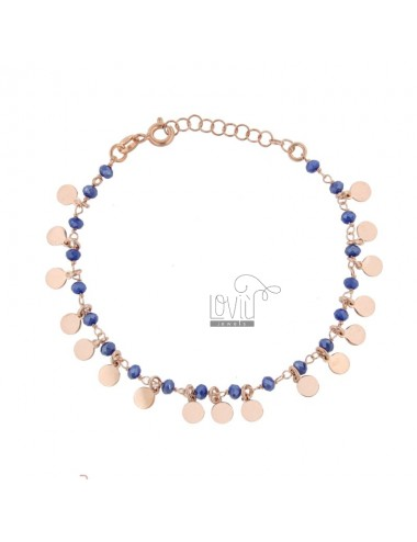 BRACELET WITH ROUND AND PENDANT STONES IN ROSE SILVER TIT 925 ‰ CM 17-20