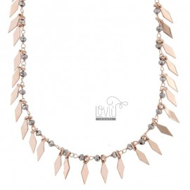 NECKLACE WITH RUBBER AND PENDANT STONES IN SILVER ROSE TIT 925 ‰ CM 38-42