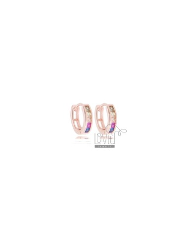 CIRCLE EARRINGS 10 MM IN ROSE SILVER AND RAINBOW ZIRCONIA