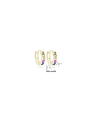 CIRCLE EARRINGS 10 MM IN GOLDEN SILVER AND RAINBOW ZIRCONIA