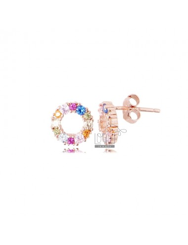 ROUND 9 MM EARRINGS IN ROSE SILVER AND RAINBOW ZIRCONIA