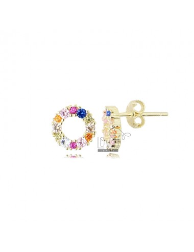 9 MM ROUND EARRINGS IN GOLDEN SILVER AND RAINBOW ZIRCONIA