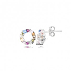 ROUND 9 MM EARRINGS IN RHODIUM SILVER AND RAINBOW ZIRCONIA