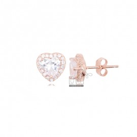 10X9 MM HEART EARRINGS IN ROSE SILVER AND WHITE ZIRCONIA