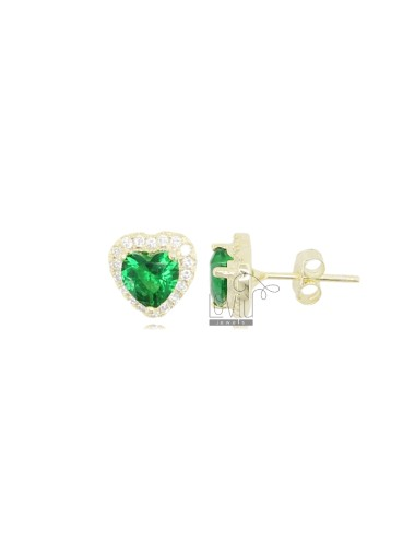 10X9 MM HEART EARRINGS IN GOLDEN SILVER AND WHITE AND GREEN ZIRCONIA