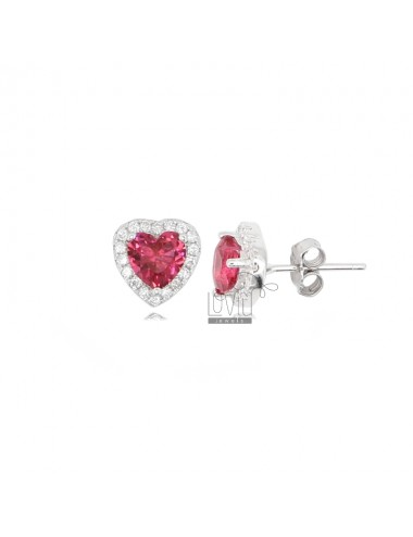 10X9 MM HEART EARRINGS IN RHODIUM SILVER AND WHITE AND RED ZIRCONIA