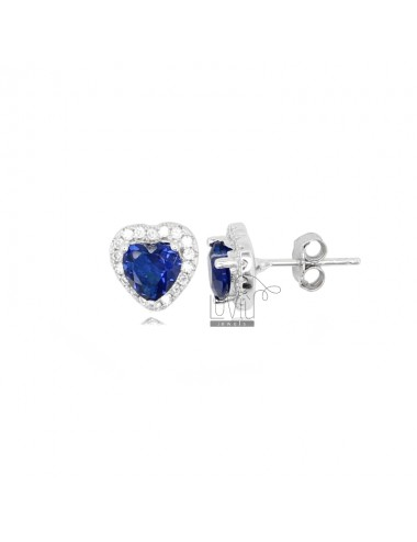 10X9 MM HEART EARRINGS IN RHODIUM SILVER AND WHITE AND BLUE ZIRCONIA