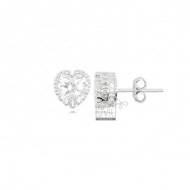 8X8 MM HEART EARRINGS IN RHODIUM SILVER AND WHITE ZIRCONIA