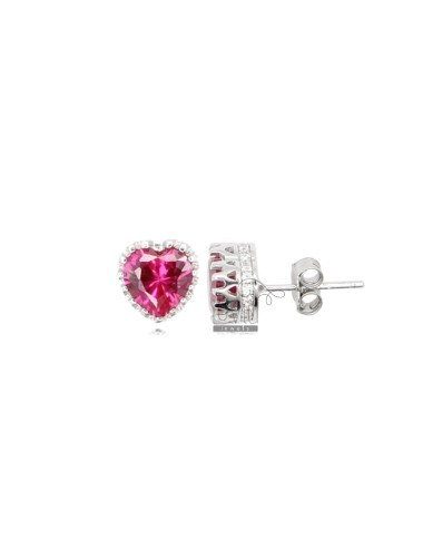 8X8 MM HEART EARRINGS IN RHODIUM SILVER AND RED AND WHITE ZIRCONIA