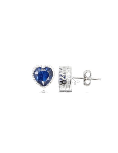 8X8 MM HEART EARRINGS IN RHODIUM SILVER AND BLUE AND WHITE ZIRCONIA