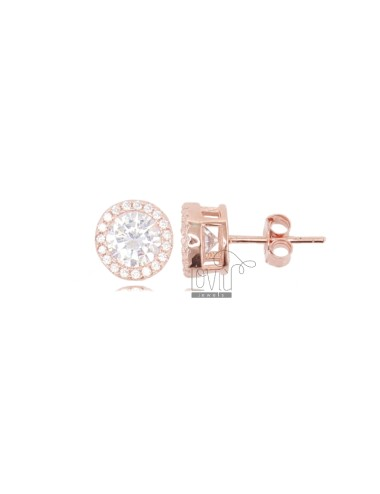 EARRINGS PUNTO LUCE 9 MM IN ROSE SILVER AND WHITE ZIRCONIA