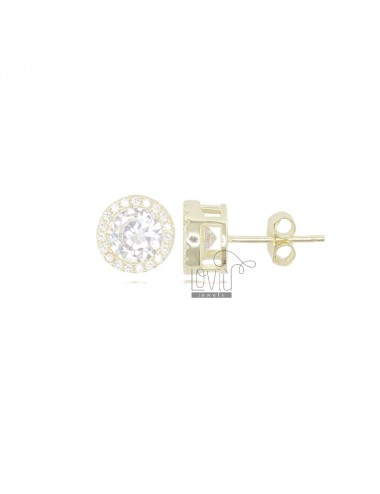 EARRINGS PUNTO LUCE 9 MM GOLDEN SILVER AND WHITE ZIRCONIA