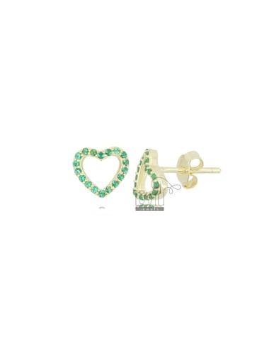 8X8 MM HEART EARRING EARRINGS IN GOLDEN SILVER AND GREEN ZIRCONIA