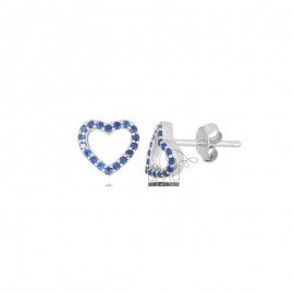 8X8 MM HEART EARRINGS IN SILVER RHODIUM SILVER AND BLUE ZIRCONIA