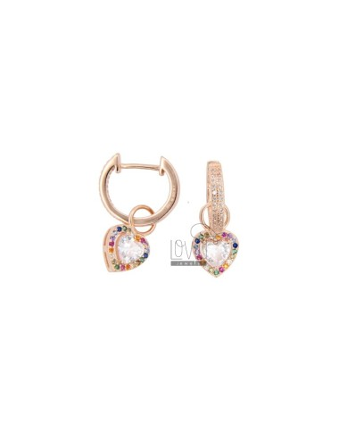 CIRCLE EARRINGS 12 MM WITH PENDANT HEART IN ROSE SILVER AND WHITE ZIRCONIA AND RAINBOW