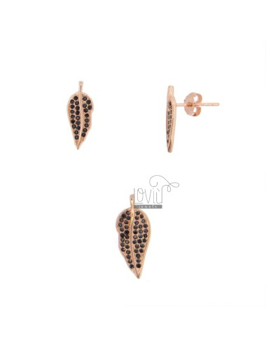 CHARM AND EARRINGS OF 20X8 MM LEAF IN SILVER ROSE TIT 925 AND BLACK ZIRCONES