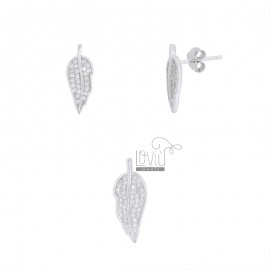 PENDANT AND EARRINGS OF 20X8 MM LEAF IN SILVER RHODIUM TIT 925 AND WHITE ZIRCONIA