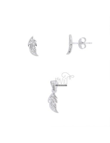 CHARM AND EARRINGS OF 13X5 MM LEAF IN SILVER RHODIUM TIT 925 AND WHITE ZIRCONIA