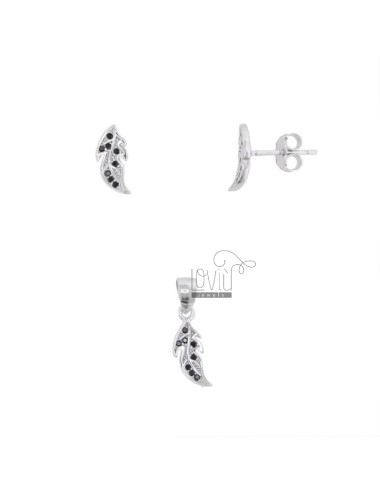 PENDANT AND LEAF EARRINGS IN SILVER RHODIUM TIT 925 AND BLACK ZIRCONIA