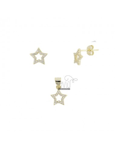PENDANT AND EARRINGS STAR 9X9 MM SILVER SILVER TIT 925 AND WHITE ZIRCONIA