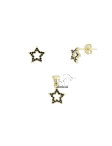 PENDANT AND EARRINGS STAR 9X9 MM SILVER SILVER TIT 925 AND ZIRCONIA BLACKS