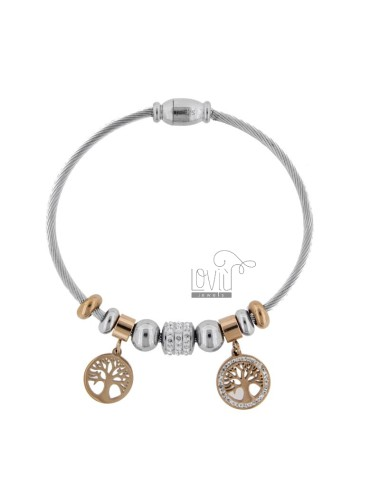 RIGID BRACELET WITH LIFE TREES AND TWO-COLORED STEEL STRASS CM 18