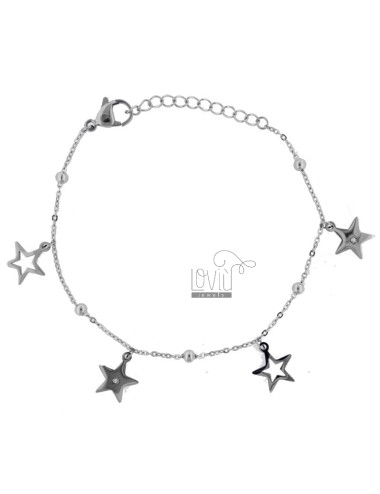 BRACELET WITH STARS AND STEEL STRASS CM 18